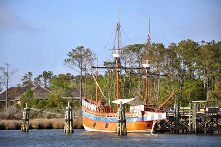 Antique ship Elixabeth II in Roanoke Island